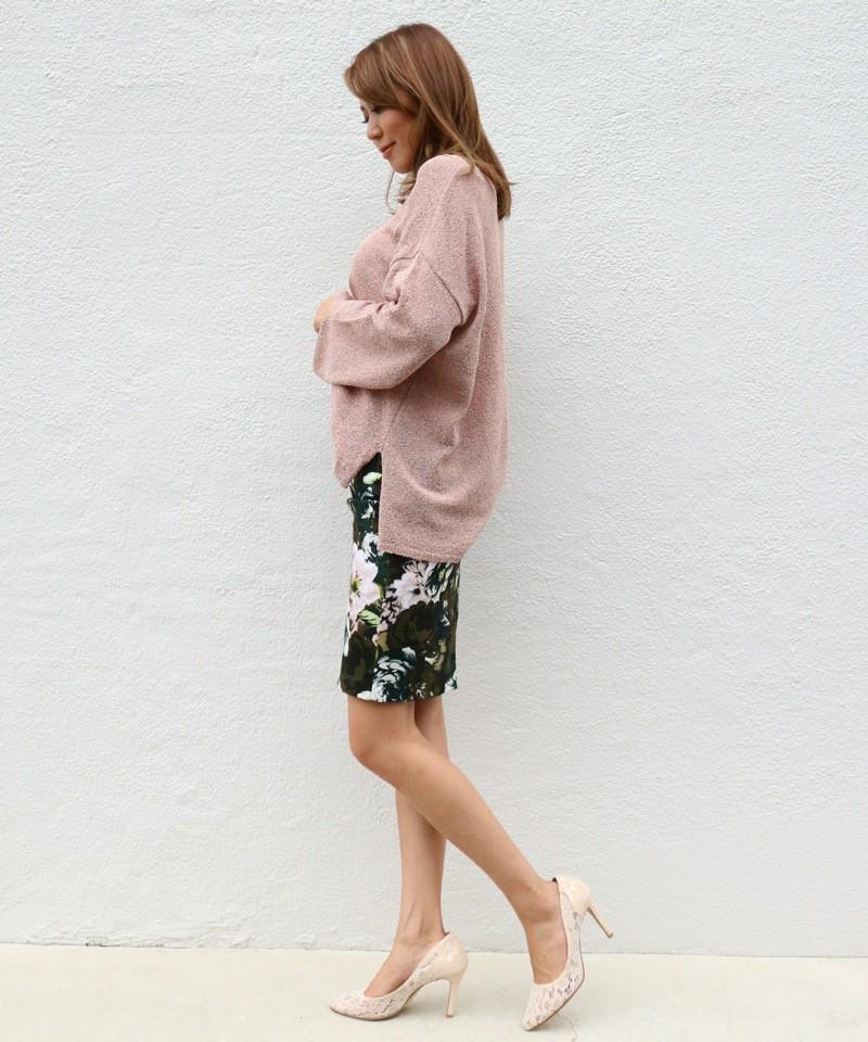 モダンフラワータイトスカート