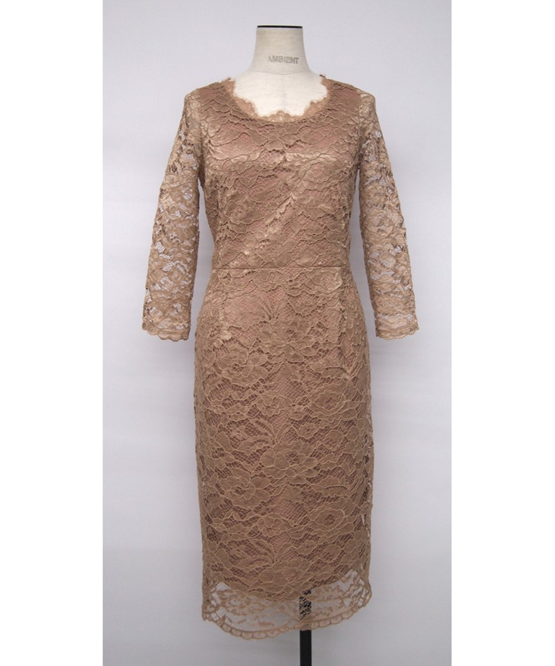 オールレーススカラップネックドレス