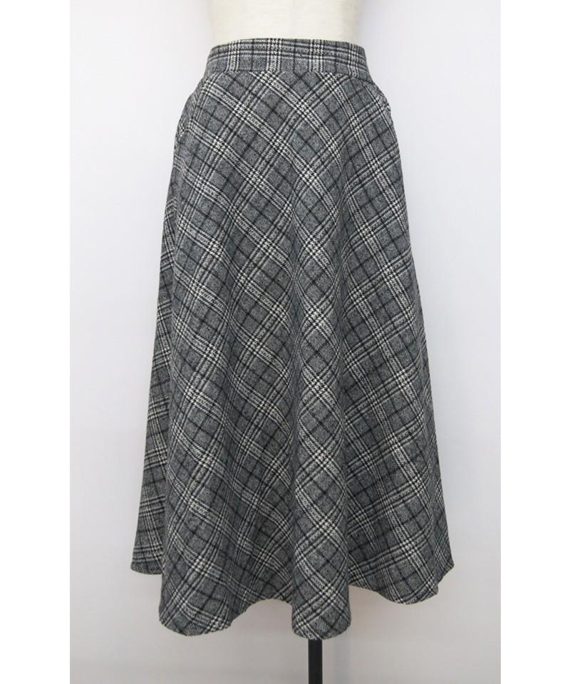 トーンチェックウールサーキュラースカート