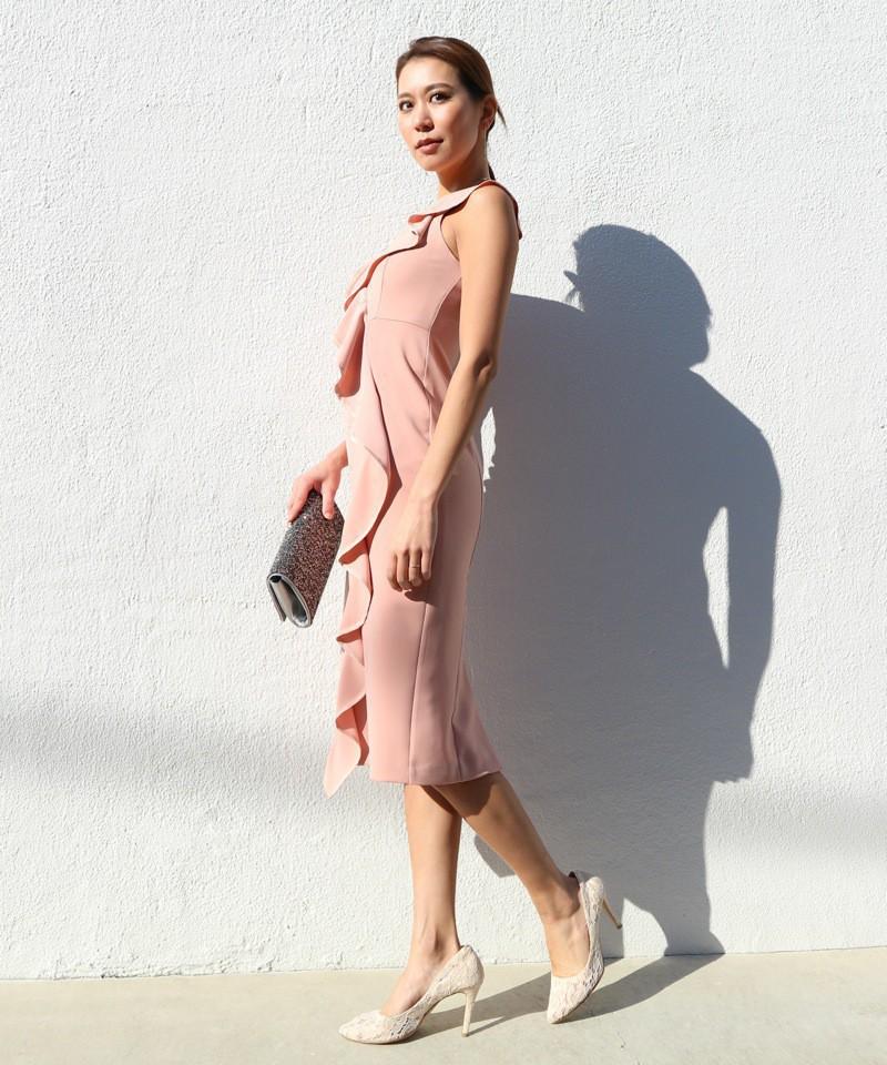 Vネックフリルパイピングドレス