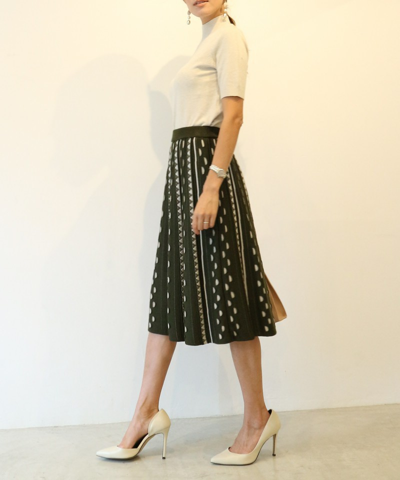 ジャガードフレアニットスカート