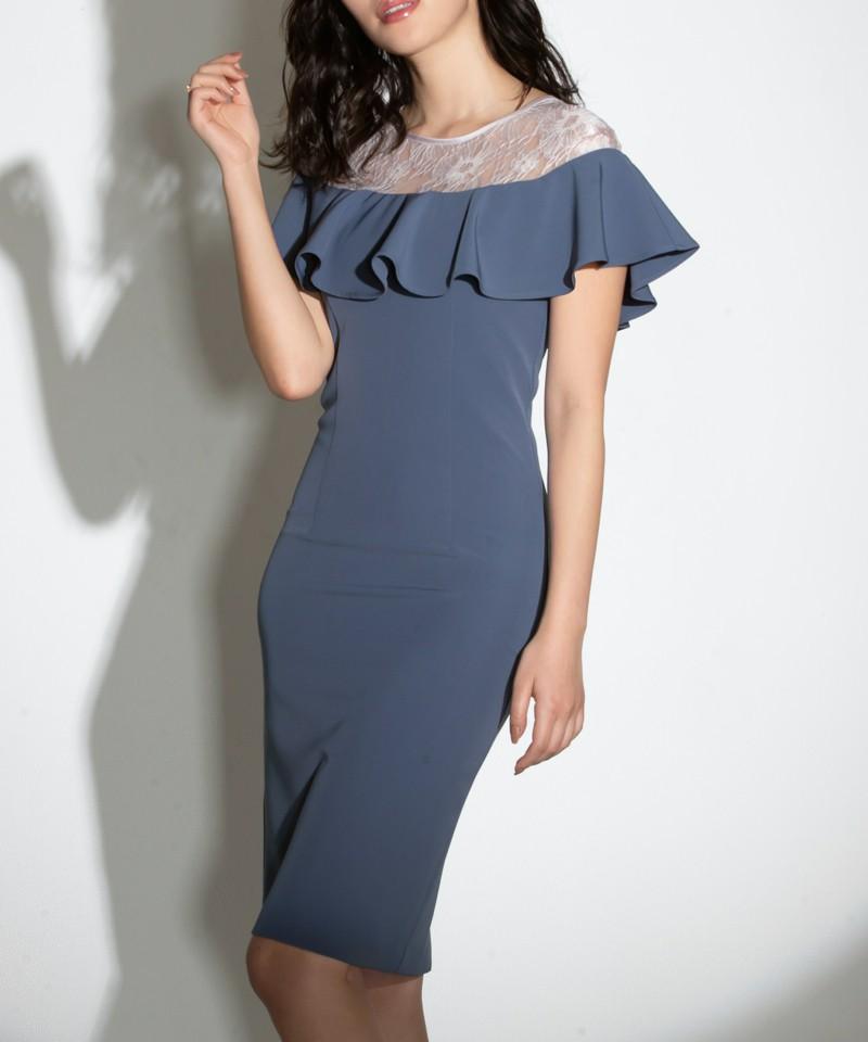 オフショルダーレースフリルタイトドレス