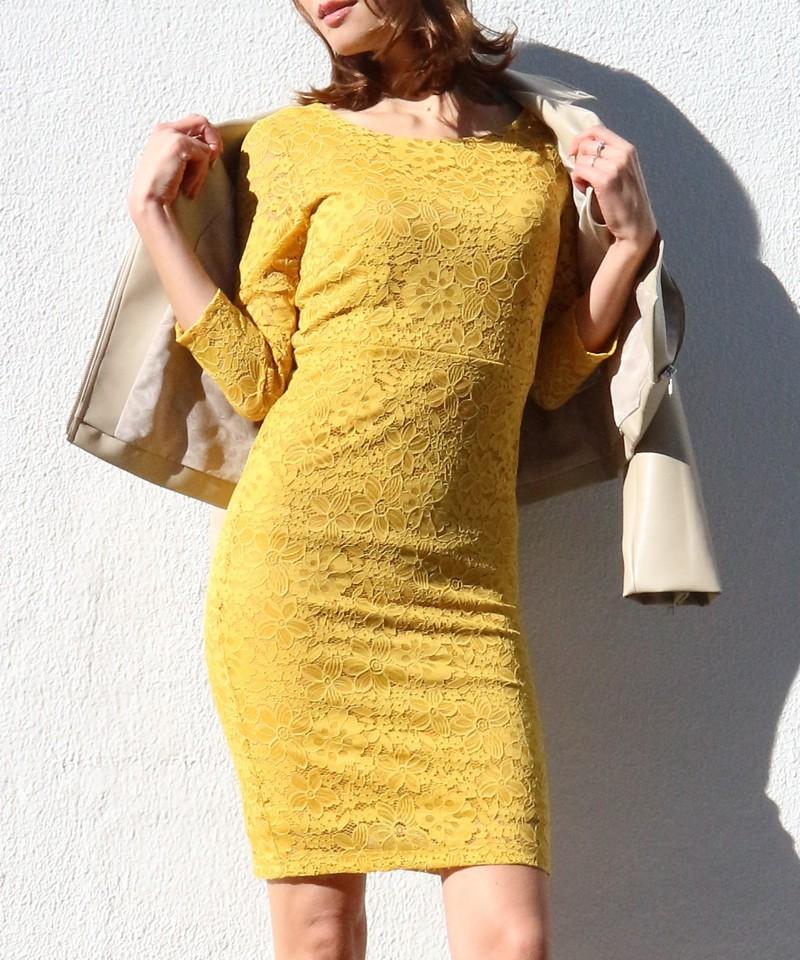 バックリボンジャージーレースドレス