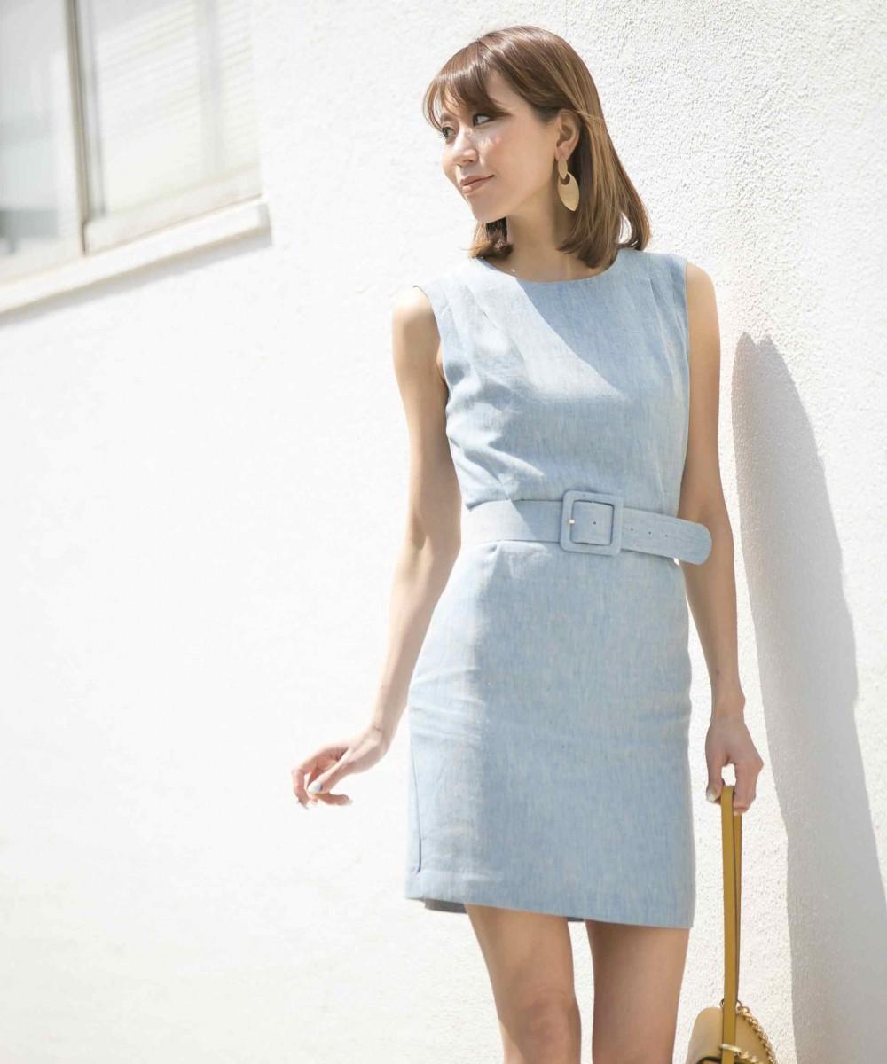 ベルトセットリネンタックドレス