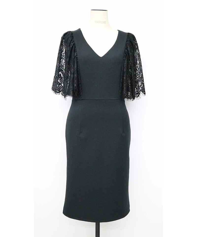 ショルダーレースVネックドレス