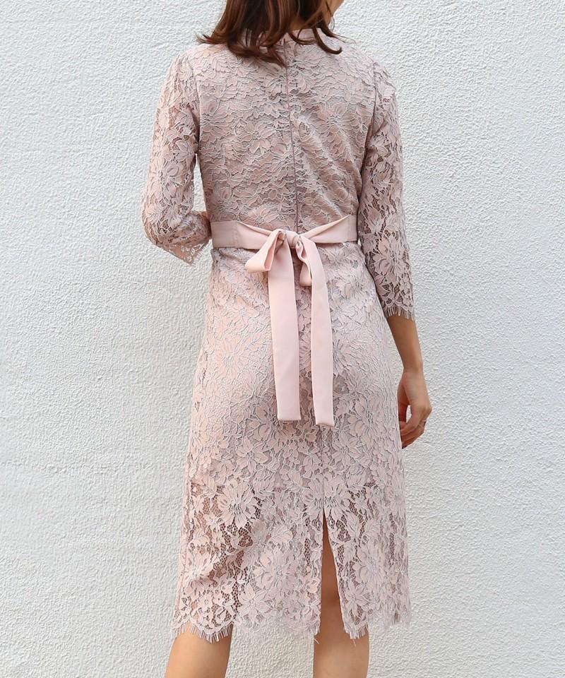 コントラストレースバックリボンドレス