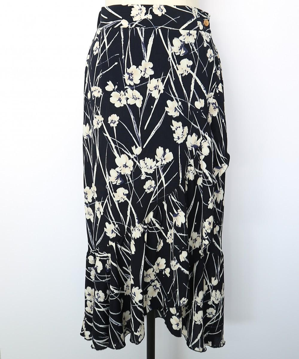 フラワープリントフリルヘムラップスカート