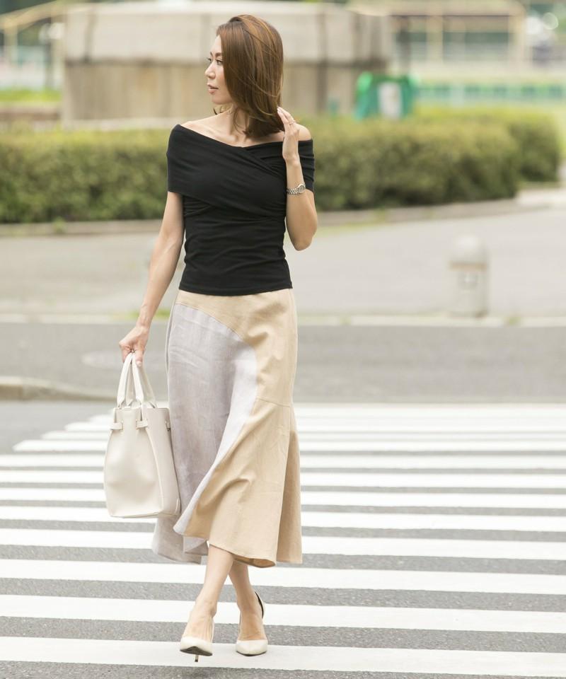 リネン×ヘリンボーンフレアスカート